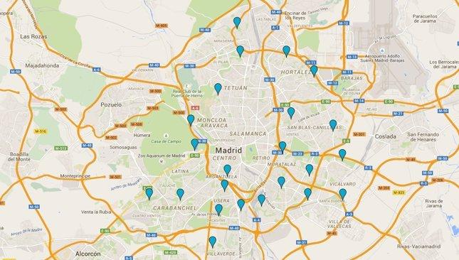 Piscinas de Madrid 2015 mapa para localizarlas