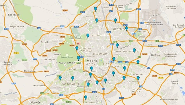 Mapa piscinas de Madrid